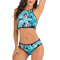 Vestido de baño bikini tropical halter push up 3