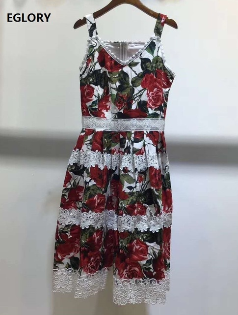 High Quality Strap Dress 2020 Summer Celebrity Inspired Women Red Rose Flower Print White Lace Embroidery Patchwork Midi Dress