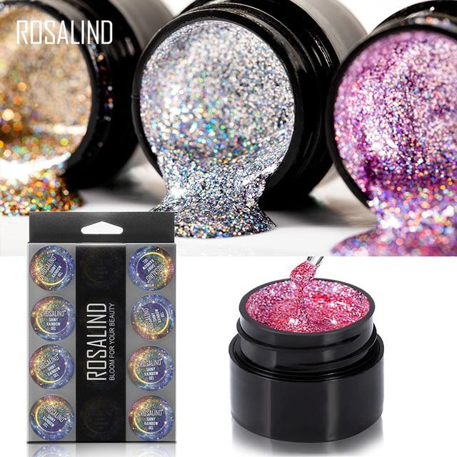 ROSALIND Manicure Set Gel Nail Polish Set 12PCS/LOT Rainbow Shiny Gel Glitter Acrylic Nail Kit Varnish All For Manicure Tools 4