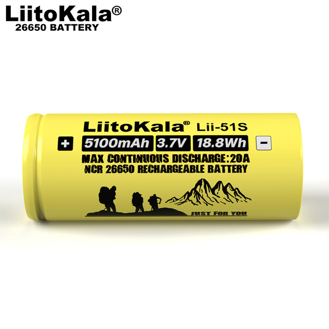 1-10PCS Liitokala LII-51S 26650 20A Power Rechargeable Lithium Battery 26650A , 3.7V 5100mA .  Suitable for Flashlight 3