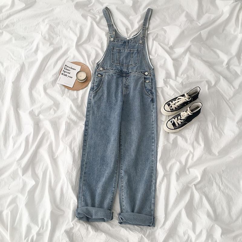 HWLZLTZHT Women Fashion Jeans Femme Loose Solid Pockets Overalls Denim Pants Spring Korean Vintage Casual Streetwear Trousers