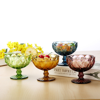 4pcs/set Creative color embossed glass cup Ice cream cup salad bowl goblet Milkshake  juice cup Whiskey Cups Lead-free Glass cup