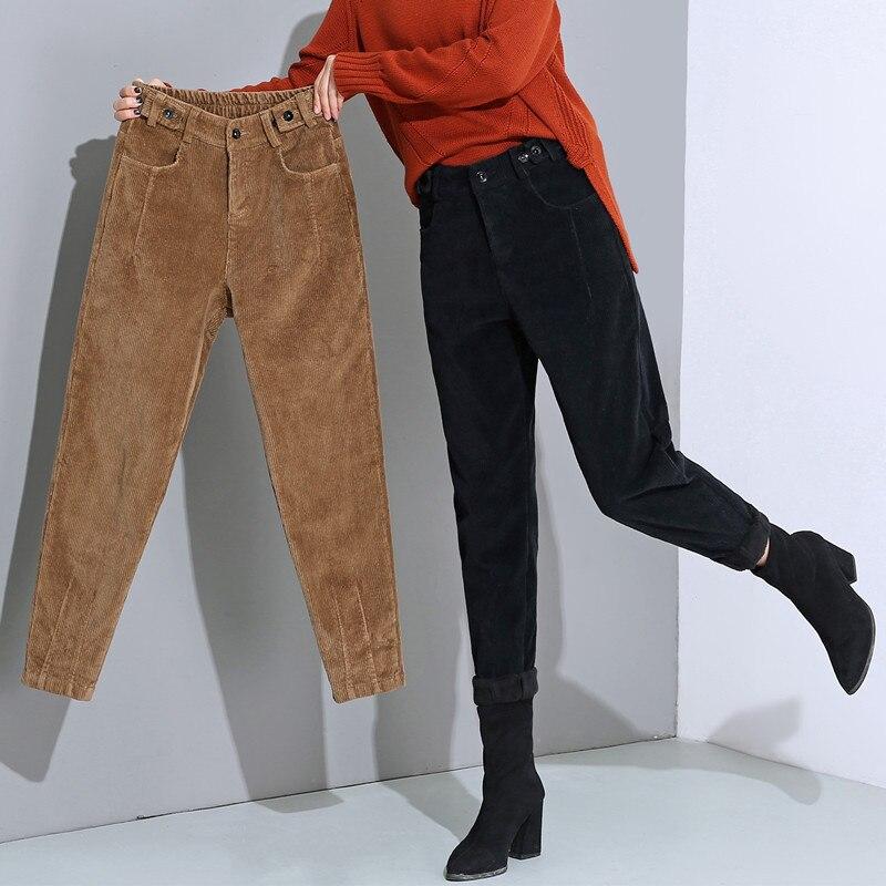 Autumn Winter High Waist Corduroy Harem Pants Women Plus Size Loose Black Pants Women Long Plus Velvet Trousers Sweatpants C5803 9