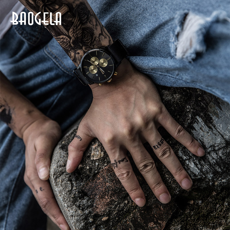 BAOGELA Chronograph New Men Quartz Watch Stainless Steel Mesh Band Gold Watches Slim Men Watches Male Relogio Sports Wristwatch-in Quartz Watches from Watches