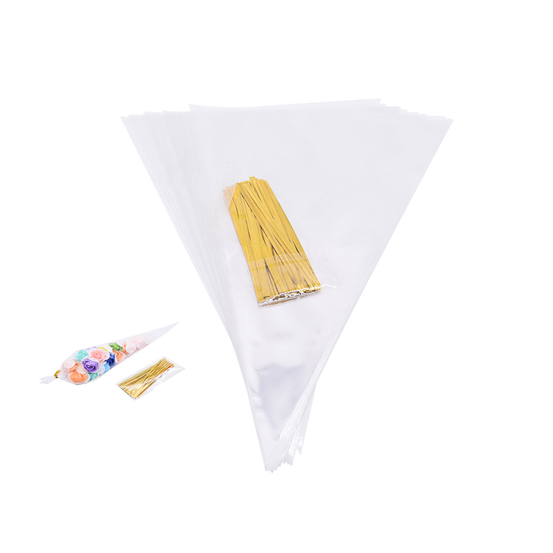 50Pcs/set Transparent  Cone Candy Bag DIY Wedding Birthday Party Sweet Cellophane Packaging Bags Organza Pouches Decoration