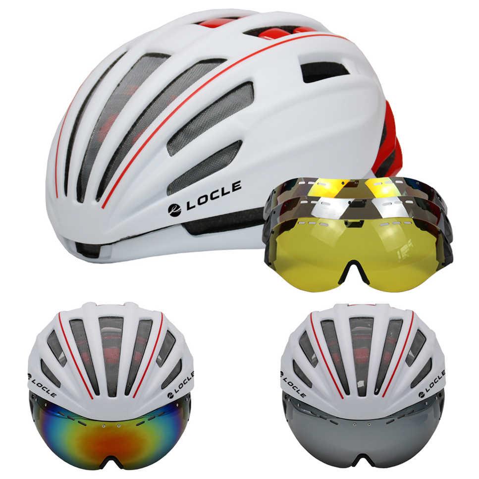 Locle óculos de proteção ciclismo capacete de estrada montanha mtb bicicleta capacete casco ciclismo ultraleve in-mold capacete da bicicleta com óculos 54-60cm