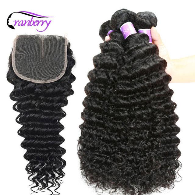 CRANBERRY Hair Deep Wave Human Hair Bundles With Closure 4 pcs/lot Brazilian Hair Weave Bundles With Closure Remy Hair Extension 3