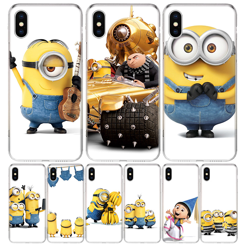 Minions Cute Cool Cover Phone Case For iPhone 11 Pro 7 6 X 8 6S Plus XS MAX + XR 5S SE 10 Ten Art TPU Coque Capa Shell