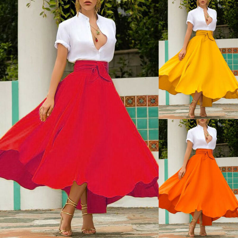 Hot Fashion Women's Ladies Solid Bandage Pleated Long Skirts Cocktail Party High Waist Summer A Line Skirts