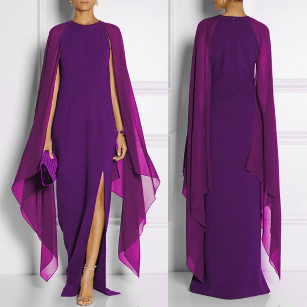 Fashion 2019 Women Batwing Sleeve Split Chiffon Dress Sexy Black Red Blue Purple Runway Cape Maxi Dress Boho Long Robe in Dresses from Women 39 s Clothing