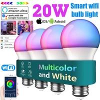 Lampadina a LED intelligente lampadina RGB 20W E27 B22 Wireless Bluetooth WIFI APP/telecomando IR lavora con Alexa Google Home Assistant