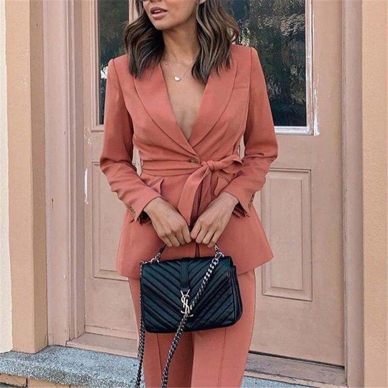 Vintage Single Breasted Women Blazer Turndown Collar Sashes Coral Blazer Feminino Office Ladies Solid Fashion Coat 2019
