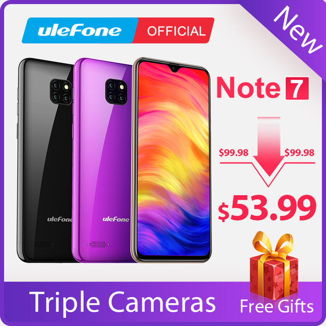 Ulefone Note 7 Smartphone 3500mAh 19:9 Quad Core 6.1inch  Waterdrop Screen 16GB ROM Mobile phone WCDMA Cellphone  Android9.0