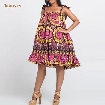 Bohisen 2019 Fall Autumn WOmen Dress Sleeveless Sling Bubble Ruffles Women Floral Print African Style
