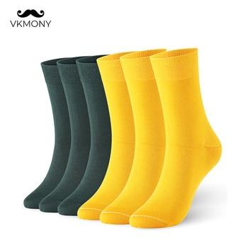Men Socks Bamboo Fiber Socks  Spring Summer Thin Men Shiny Solid Color Sock 6pairs/lot UK SIZE 7-11 EUR SIZE 40-46 1009 VKMONY