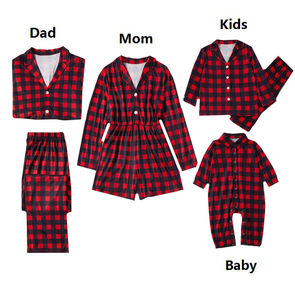 Family Matching Outfit Clothes Christmas Pajamas Set Mom And Daughter Full Sleeve Red Lattice Sleepwear Women Men Baby Set