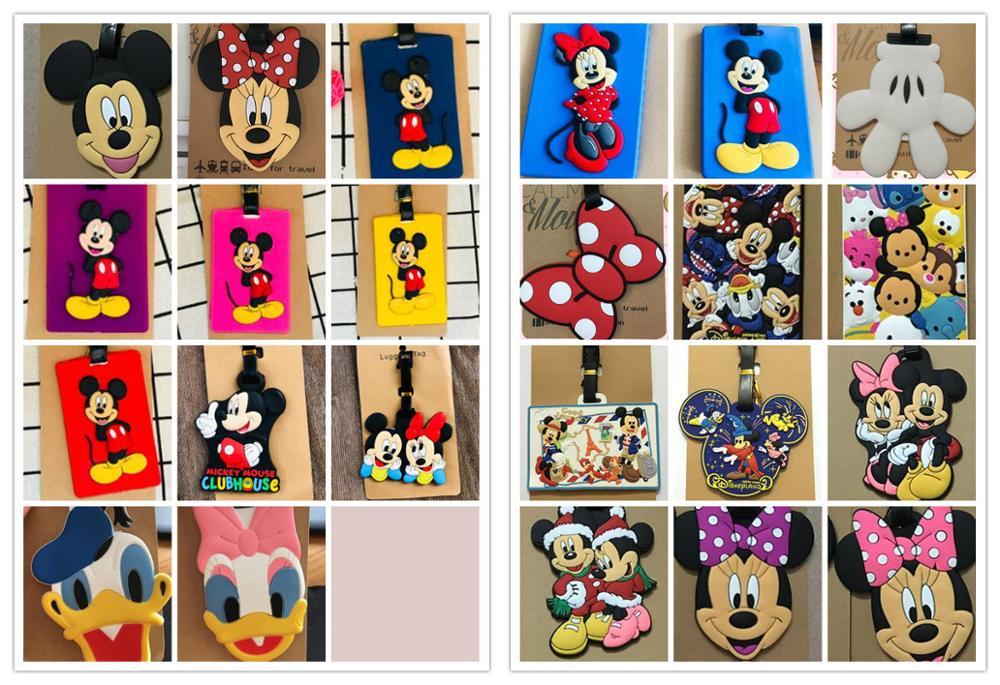 New 1pcs Minnie Minnie Donald Duck Daisy Cartoon Luggage Tag PVC Pendants Suitcase Decoration Keychain Card Holder Kids Gift