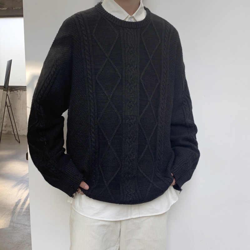 Winter Trui Mannen Warm Mode Effen Kleur Casual Trui Man Sweter Kleding Wilde Losse Gat Trui Mannelijke Kleren