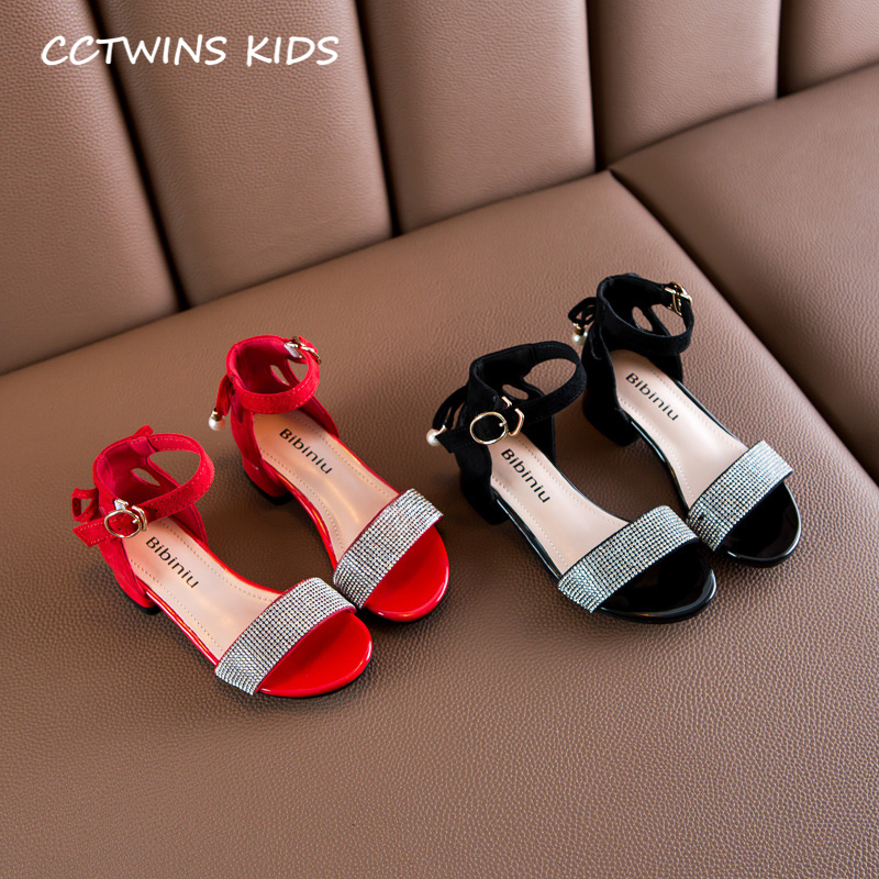 Kids Red Sandals 2020 Summer Children Fashion Butterfly Princess Heel Baby Girls Rhinestone Sandals Toddlers Brand Shoes PS815