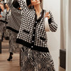 FSDA V Neck Women Button Black Houndstooth Cardigan 2020 Long Sleeve Sweater Autumn Winter Knitted Loose Oversized Jumper Casual 4