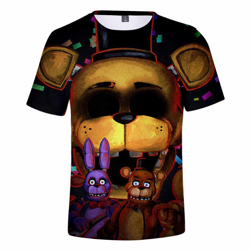 3 sampai 14 Tahun Anak-anak T Shirt Lima Malam Di Freddy 'S FNaF Pakaian Anak-anak Anak-anak Gadis T-shirt Lengan Pendek Kaos atasan Remaja Pakaian