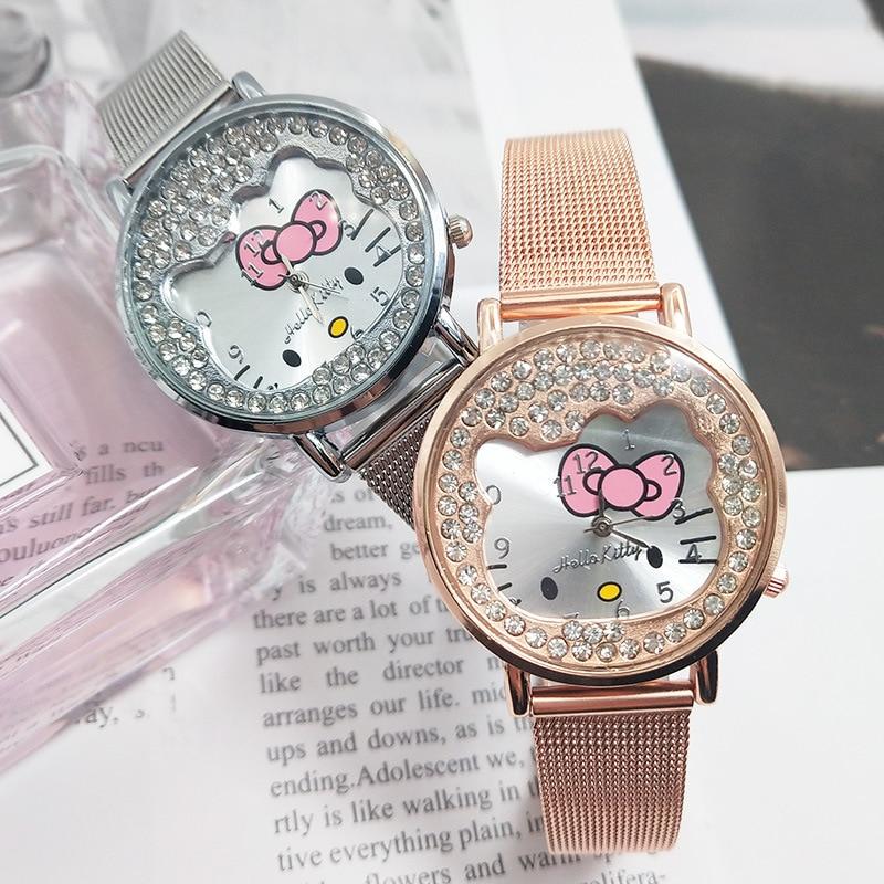 Girls Student Cartoon Watch Diamond Women Wristwatch Rose Stainless Steel Clock Montre Etudiante Zegarek Studencki