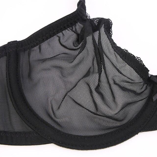 Varsbaby sexy lace unlined underwear set solid transparent three quarters yarn thong bra set 5
