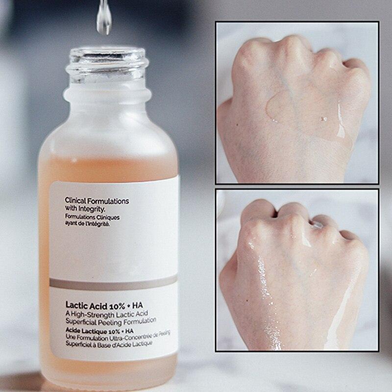 Обычная очистка лица от акне, молочная кислота 10% + HA, высокопрочная формула для поверхностного пилинга и макияжа, праймер