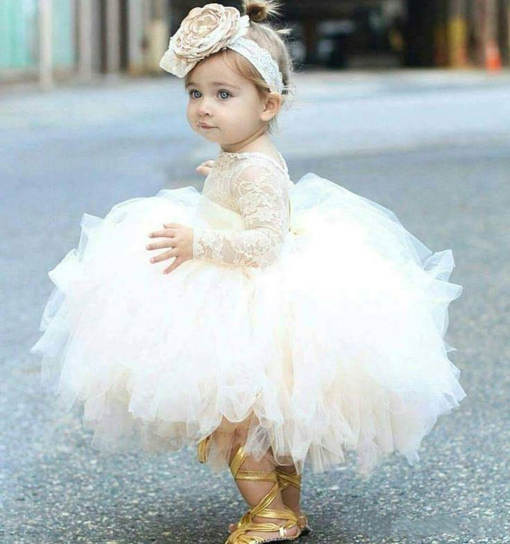 Cute Light Champagne Baby Girls Birthday Dress Long Sleeve Lace Top Puffy Skirt Infant Toddler Kids Clothes for Party