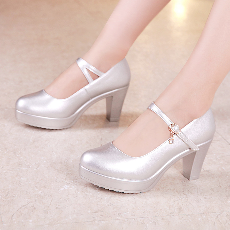 Plus Size 32-43 Block Heel Platform Shoes Women Pumps 2019 Fall White Silver Wedding Shoes Medium Heels Office Shoes Ladies