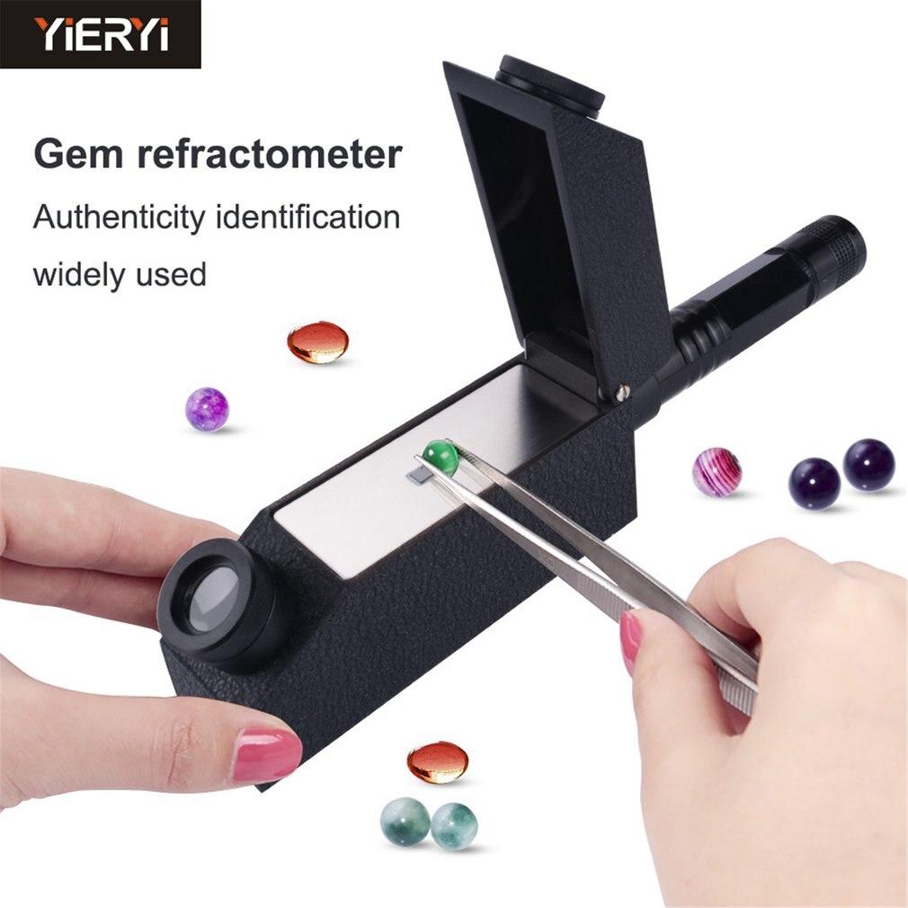 Gemology Gemstone Polarizing Filter Gem Refractometer 1.81 RI Oil Built-in LED Gemstone Refractometer Kit Portable Gem Tester