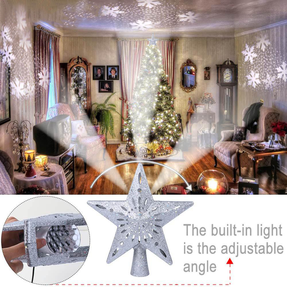 3D Projection Star Christmas Tree Topper