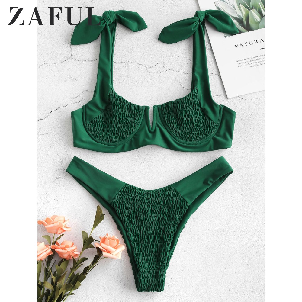 ZAFUL Smocked Tie Shoulder Bikini Set Shirred Underwire V Cut Swimsuit Scoop Neck Solid Sweet Swimwear Push Up Bathing Suit 2020
