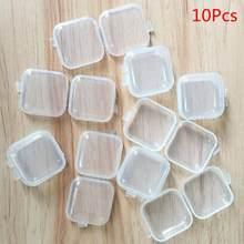10 pçs/lote mini portátil plástico transparente caixas de armazenamento quadrado pílula jóias earplug brinco caixa casa organização