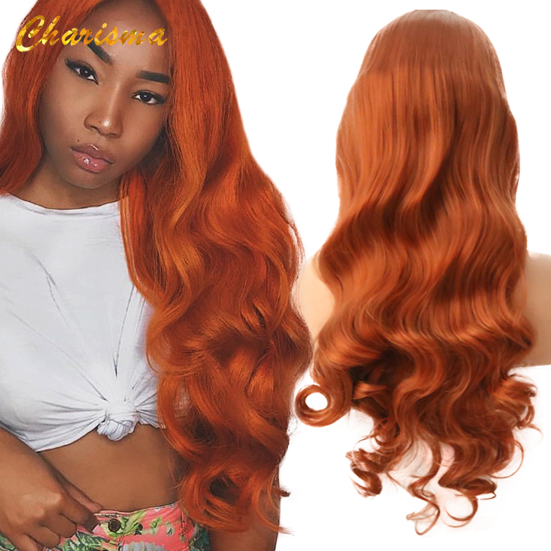 Charisma Long Body Wave Synthetic Lace Front Wig Heat Resistant Orange Wigs Glueless Heat Resistant Wigs For Black Women