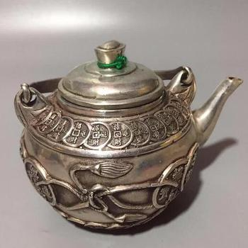 Collection Chinese White Bronze Carving Gold Money Cion Kettles, Teapots, Wealth Success Geomantic Household Decorations