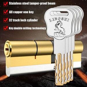 European American standard anti-theft door lock core Gate lock living room door lock cylinder stainless steel brass lock 10 keys(China)