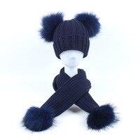 Dollplus Newborn Hat Baby Boy Girls Knitted Hats Winter Warm Pompoms Children Caps Scarf 2pcs Real Fur Ball