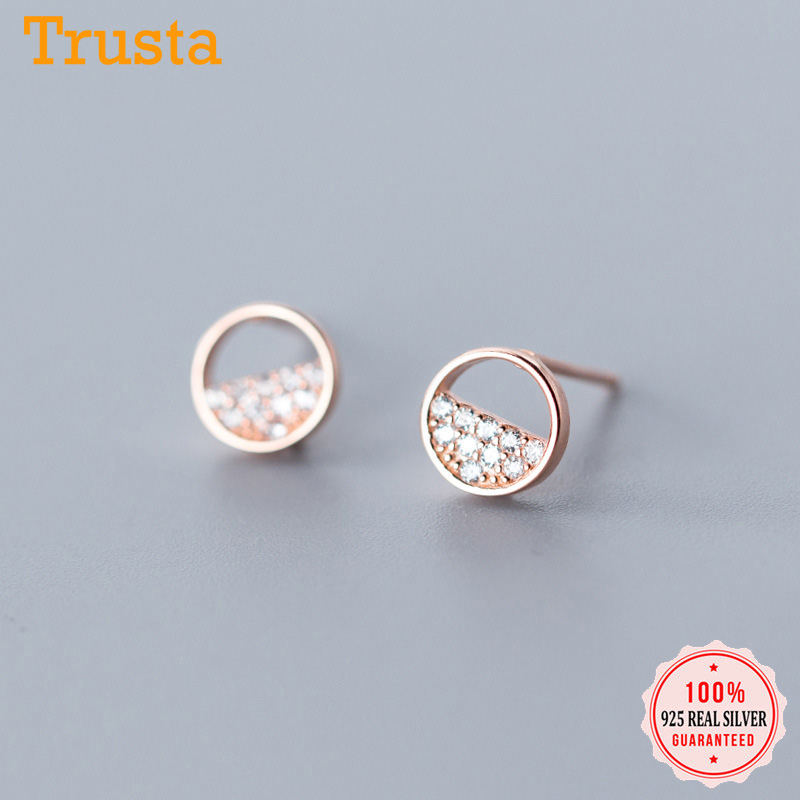 Trusta 2019 925 Sterling Silver Cute Sweet Dazzling Star Round CZ Stud Earrings For Women Girls Friendship Jewelry Gift DS1951