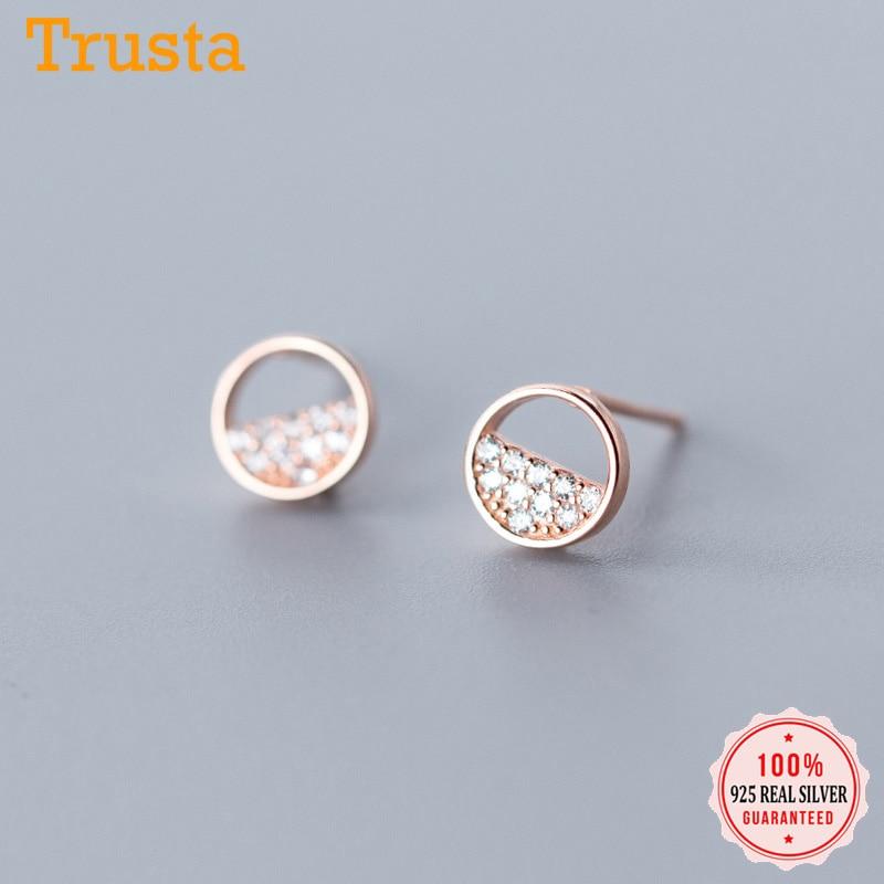 Trusta 2019 925 Sterling Silver Cute Sweet Dazzling Star Round CZ Stud Earrings For Women Girls Friendship Jewelry Gift DS1951