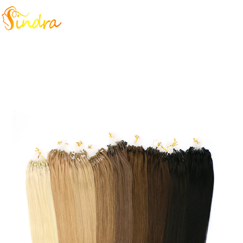 Sindra Straight Loop Micro Ring Hair 100% Human Micro Links Remy Hair Extension 14