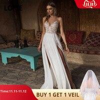 Verngo Boho Wedding Dress Sexy Side Slit Beach Wedding Dress V Neck Bride Dress Spaghetti Straps Weeding Gowns Vestido De Noiva