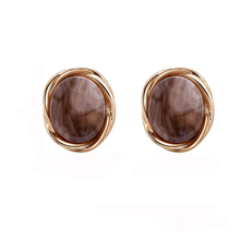 NJ Simple Elegant Acrylic Brown Color Stud Earrings For Woman Girls Classic Party Female Wholesale