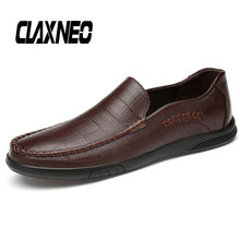 Buy CLAXNEO Man Shoes Leather Loafers Retro Vintage Male Moccasins Genuine Leather Casual Shoe Design Handmade Boat Footwear directly from merchant!