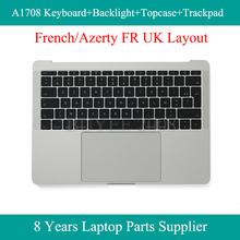 For Macbook Azerty FR UK Version A1708 French Keyboard Backlight Topcase Palm Rest Trackpad