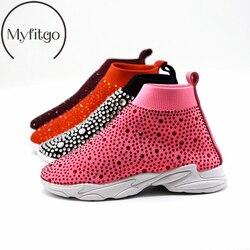 Myfitgo Glänzenden Strass Kinder Stretch Socke Turnschuhe Air Mesh Mädchen Flache Beiläufige Schuhe Jungen Sport Wandern Stiefel Mädchen Kristall Schuhe