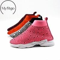Myfitgo Shiny Rhinestone Kids Stretch Sock Sneakers Air Mesh Girls Flat Casual Shoes Boy Sport Walking Boots Girls Crystal Shoes