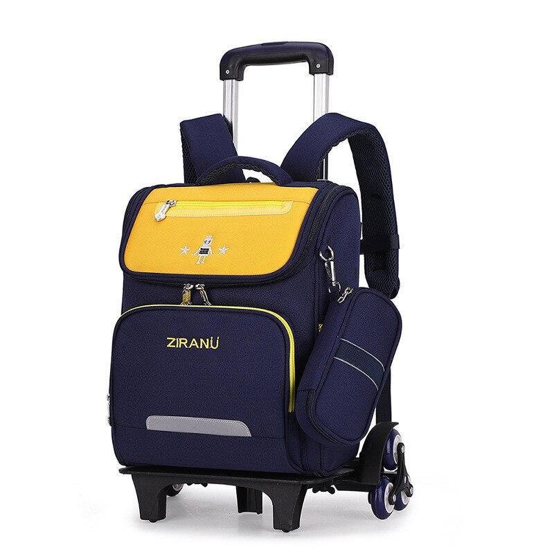 ZIRANYU Rolling Bag Children Trolley School Bag 2/6 Wheels Removable Kids Wheeled bag Nylon Waterproof Travel Bag Mochilas