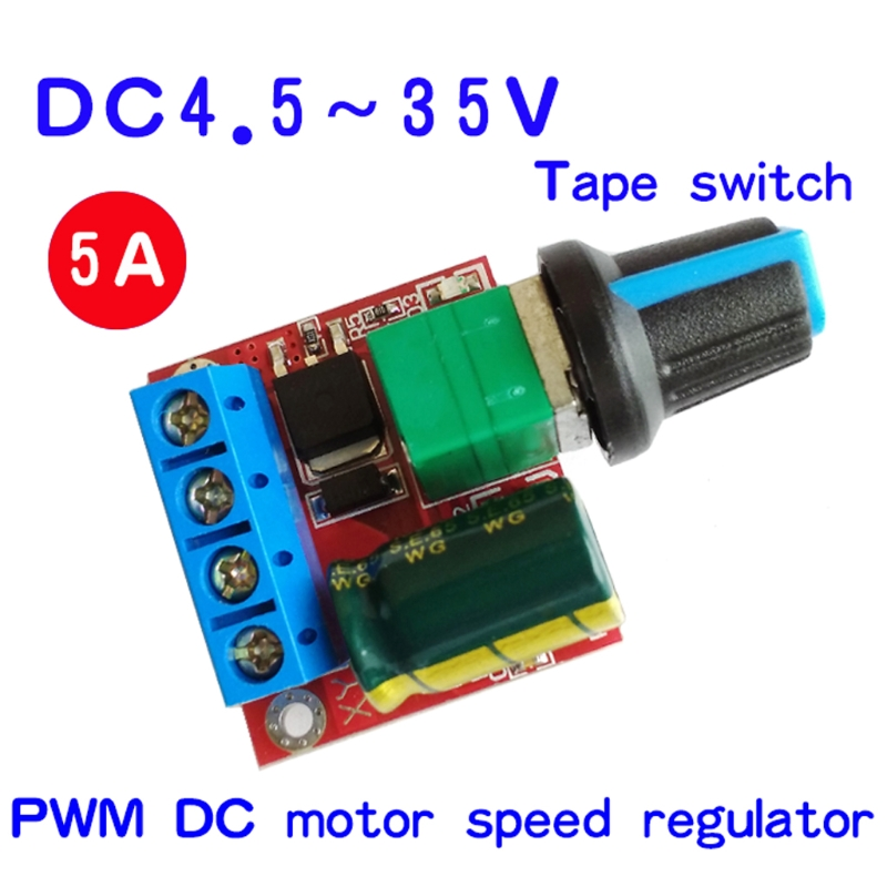 Mini DC Motor PWM Speed Controller 4.5V-35V Speed Control Switch LED Dimmer 5A
