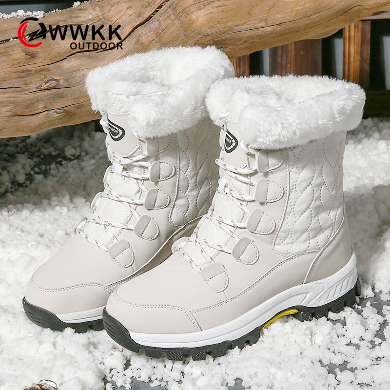 WWKK 2019 Fashion Women Boots High Quality Mid-Calf Winter Ski Snow Boots Women Lace-up Comfortable Outdoor Non-slip Rain Boots